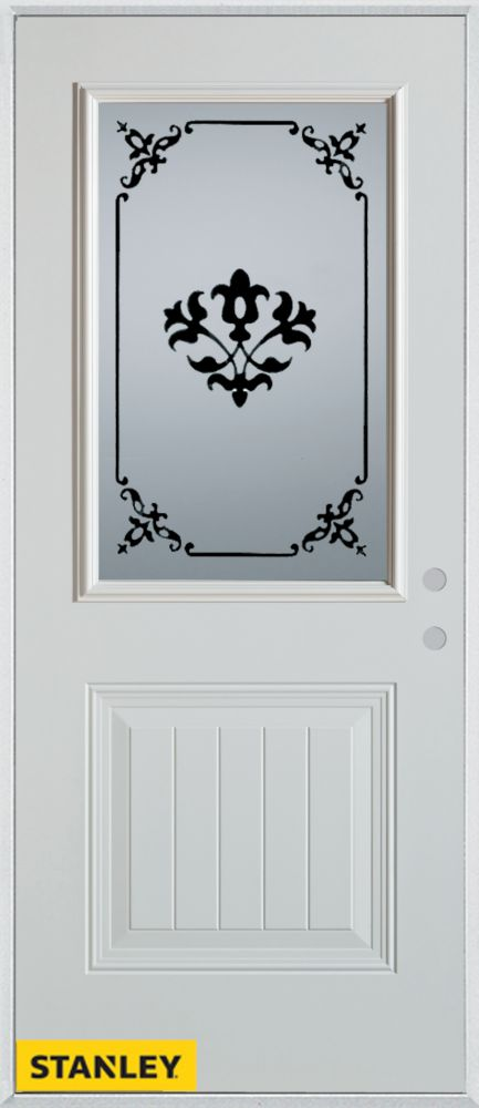 36-inch x 80-inch Silkscreened 1/2-Lite 1-Panel White Steel Entry Door with Left Inswing