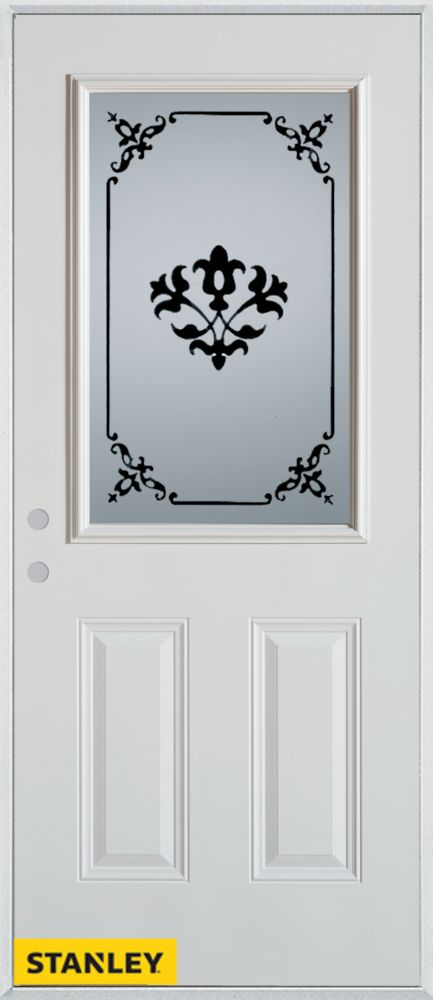 32-inch x 80-inch Silkscreened 1/2-Lite 2-Panel White Steel Entry Door with Right Inswing