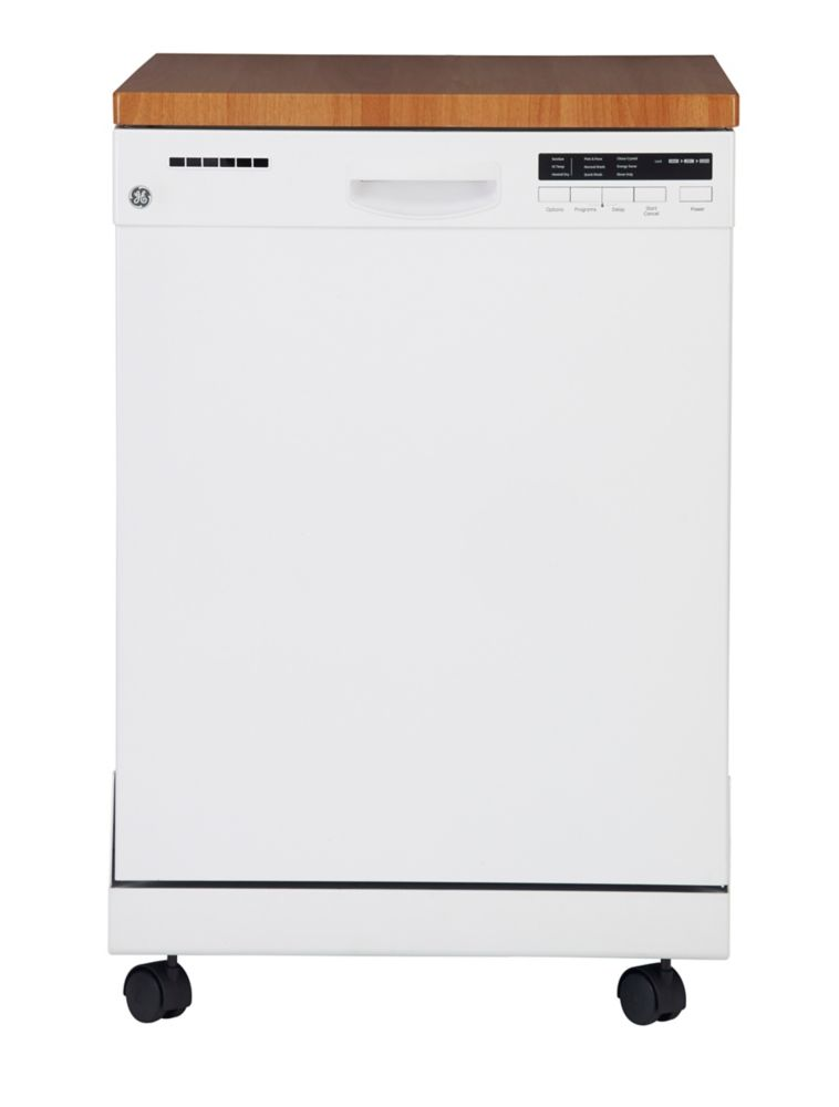 GE White Portable Dishwasher With Stainless Steel Tub