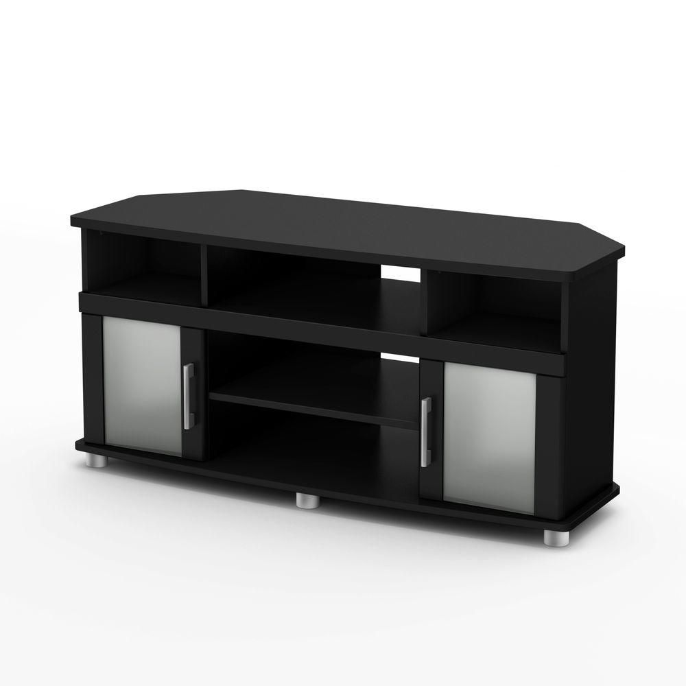 South shore meuble en coin pour tv 50 noir solide for Meuble en coin tv