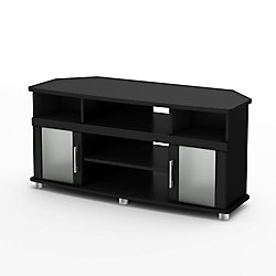 City Life City Life Collection Corner TV Stand in Pure Black