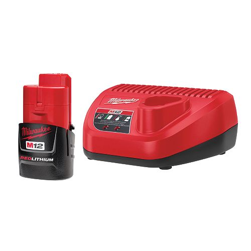 Milwaukee Tool M12 12V Lithium-Ion Compact (CP) 1.5 Ah REDLITHIUM Battery and Charger Starter Kit
