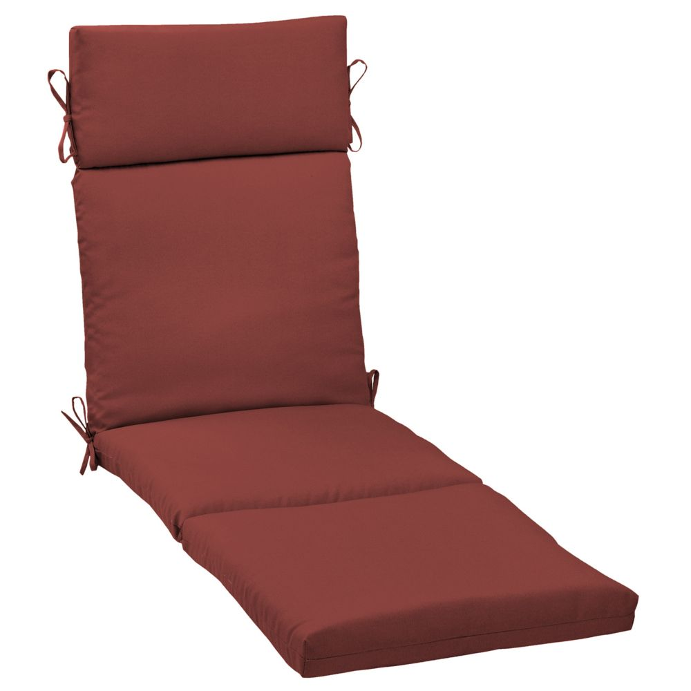 Hampton bay chili solid chaise lounge cushion the home for Chaise longue cushions