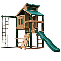 Hideaway Clubhouse Playset with Slide and Tuff Wood