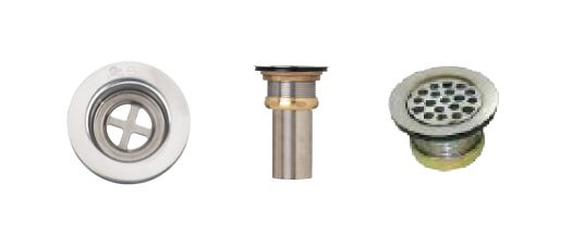 Vandal-Proof Grid Strainer. T304 SS, SS Hex Screw, Brass Locknut, 2 5/8 Inch Brass Tailpiece