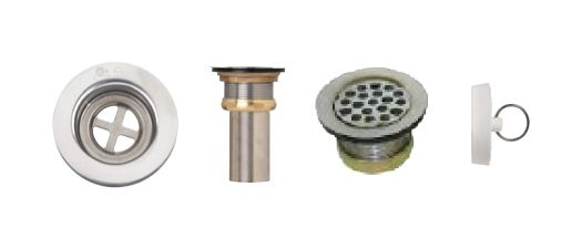 Combination Grid Strainer + Rubber Stop. T316 SS, Brass Locknut, 2 5/8 Inch SS Tailpiece