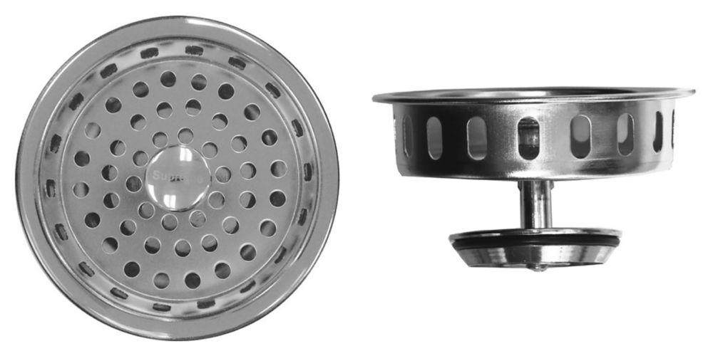 "Premium Basket Strainer - Similar to Kohler Strainer. Chrome Plated Brass, ""O"" Inch Ring Seal andBrass Locknut, Tailpiece Not Included. 11-0870 in Canada"