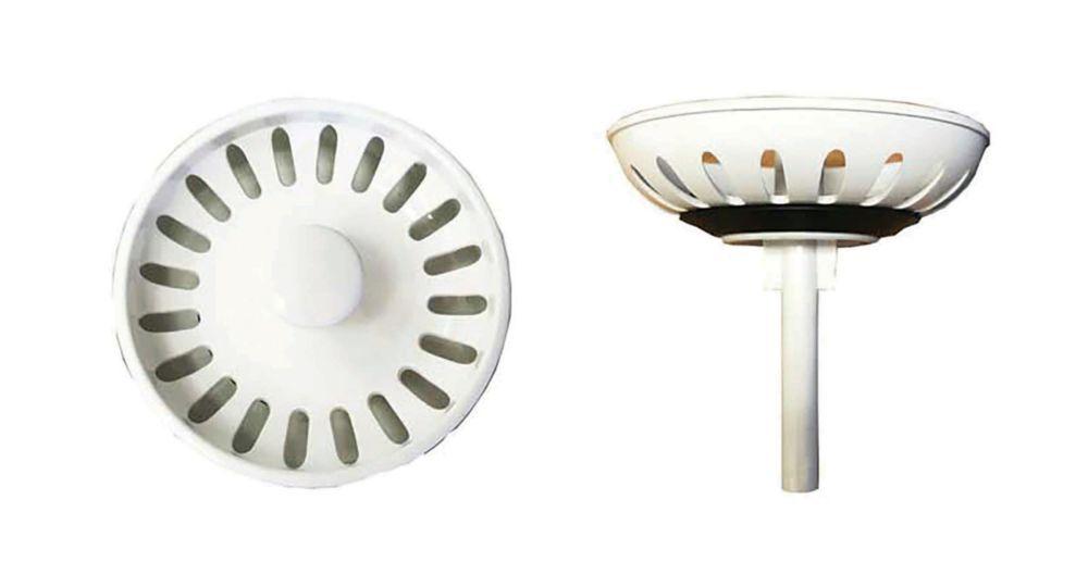 Crépine de couleur en plastique - étanchéité par gravité du panier - blanc