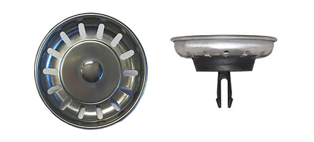 Stainless steel kitchen sink strainer complete with brass tailpiece.
