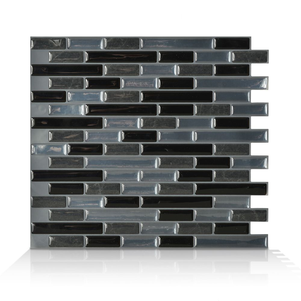 6 - Pieces 10,20  Inch. X 9,10  Inch. Peel And Stick Nero Mosaik