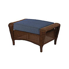 Spring Haven Patio Ottoman Brown with Blue Cushions