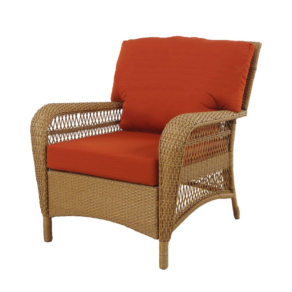 MSL Charlottetown Patio Chair in Natural with Quarry Red Cushions
