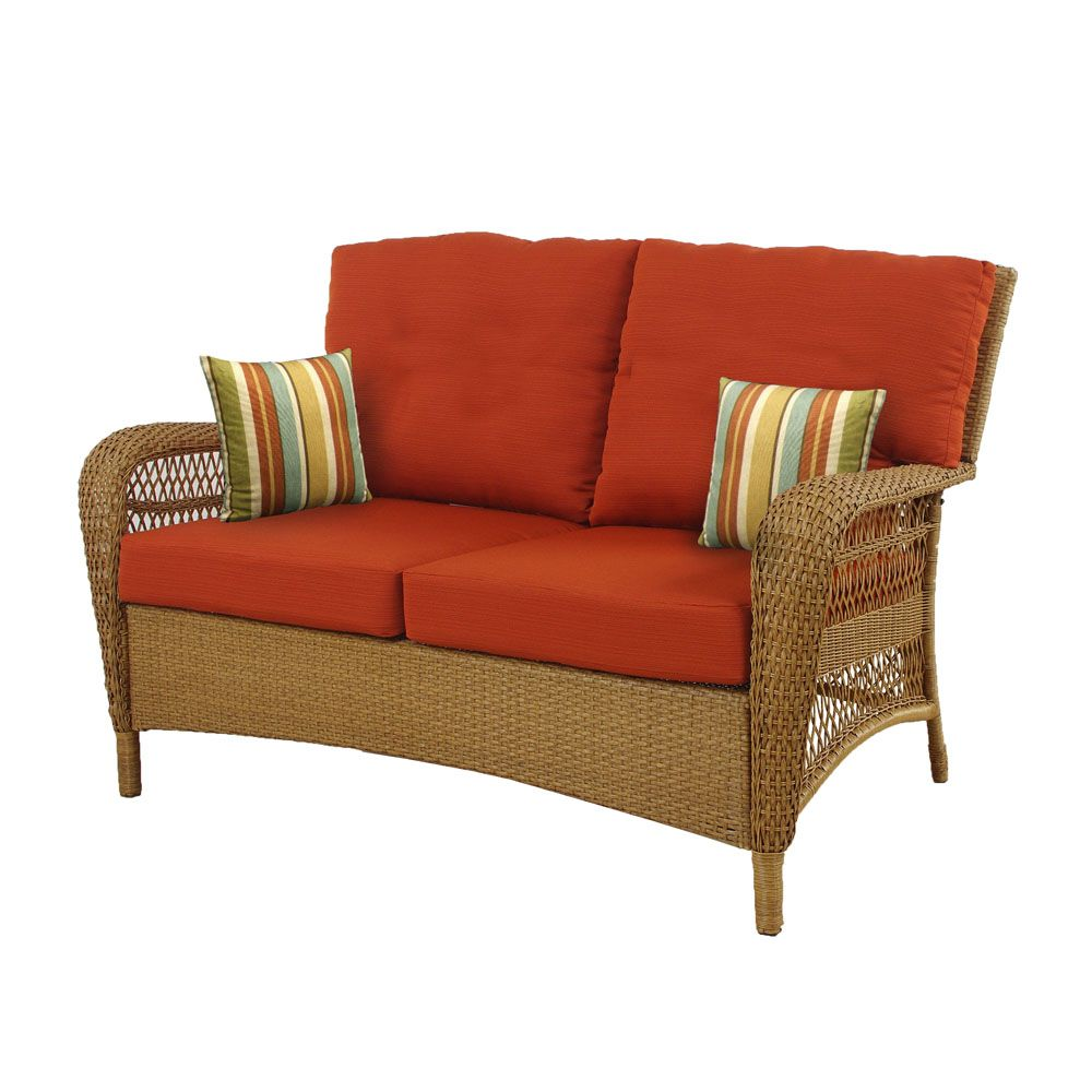 Msl charlottetown natural outdoor loveseat with quarry red cushions the home depot canada Loveseat cushions for outdoor furniture