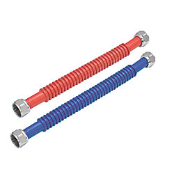 Eastman 3/4-in FIPx3/4-in FIPx18-in Red and Blue Corrugated Stainless Steel Water Heater Connectors (2-Pack)