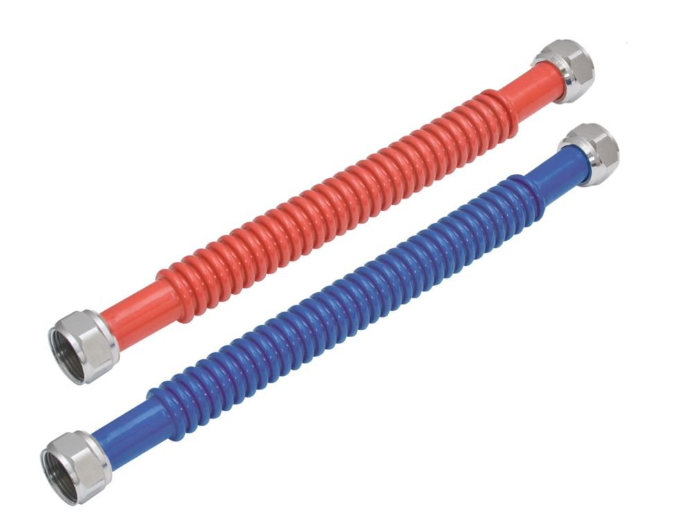 Eastman 3/4-in FIPx3/4-in FIPx18-in Red and Blue Corrugated Stainless Steel Water Heater Connectors 2 Pack