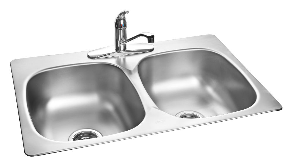 Stainless Steel Double Kitchen Sink With Faucet And Bottom Grids
