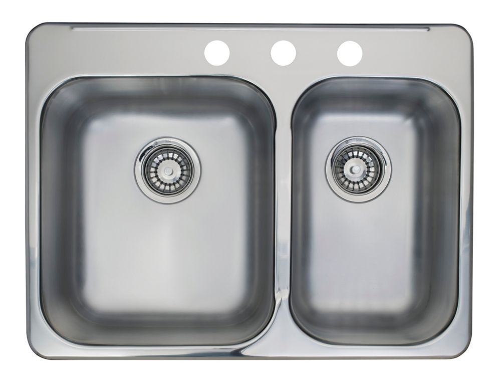 Kindred Combination Bowl Pre-Drilled 3-Hole Double Sink