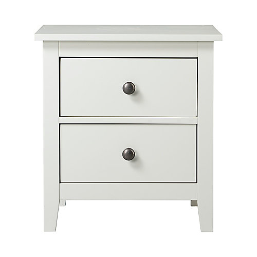 Dellys Collection 2-Drawer Laminate Night Stand In White