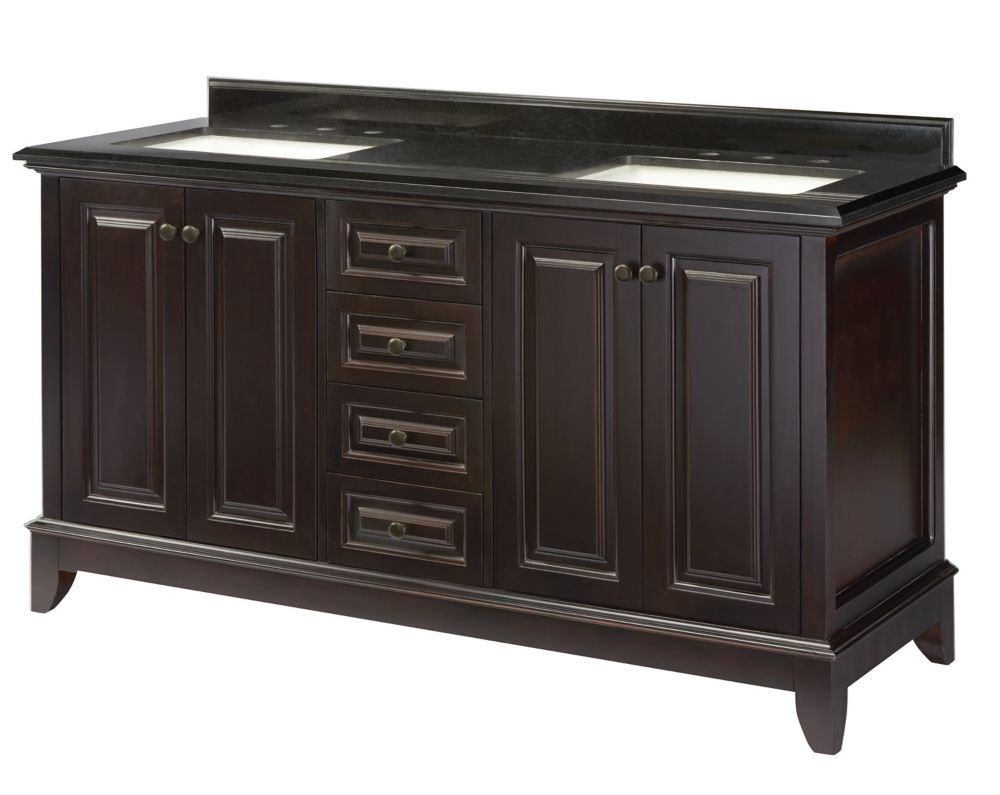 Braceborough 61-inch W 4-Drawer 4-Door Freestanding Vanity in Brown With Granite Top in Black
