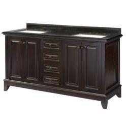 Home Decorators Collection Braceborough 61-inch W 4-Drawer 4-Door Freestanding Vanity in Brown With Granite Top in Black