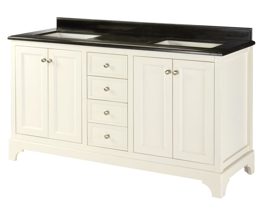 Home Decorators Collection Ferngate 61-inch W 4-Drawer 4-Door Freestanding Vanity in White With Granite Top in Black