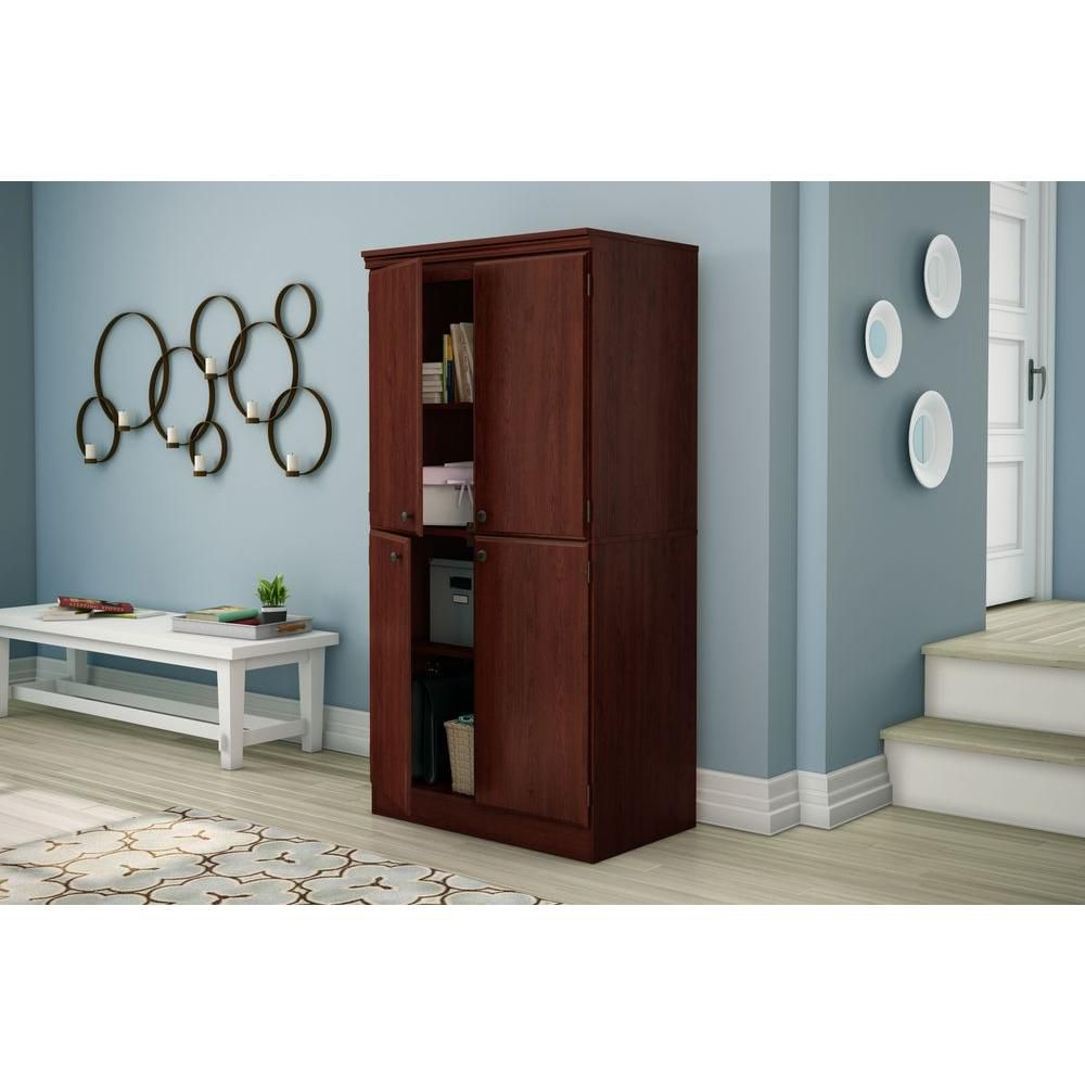 South shore armoire de rangement 4 portes cerisier royal for Rangement garage home depot