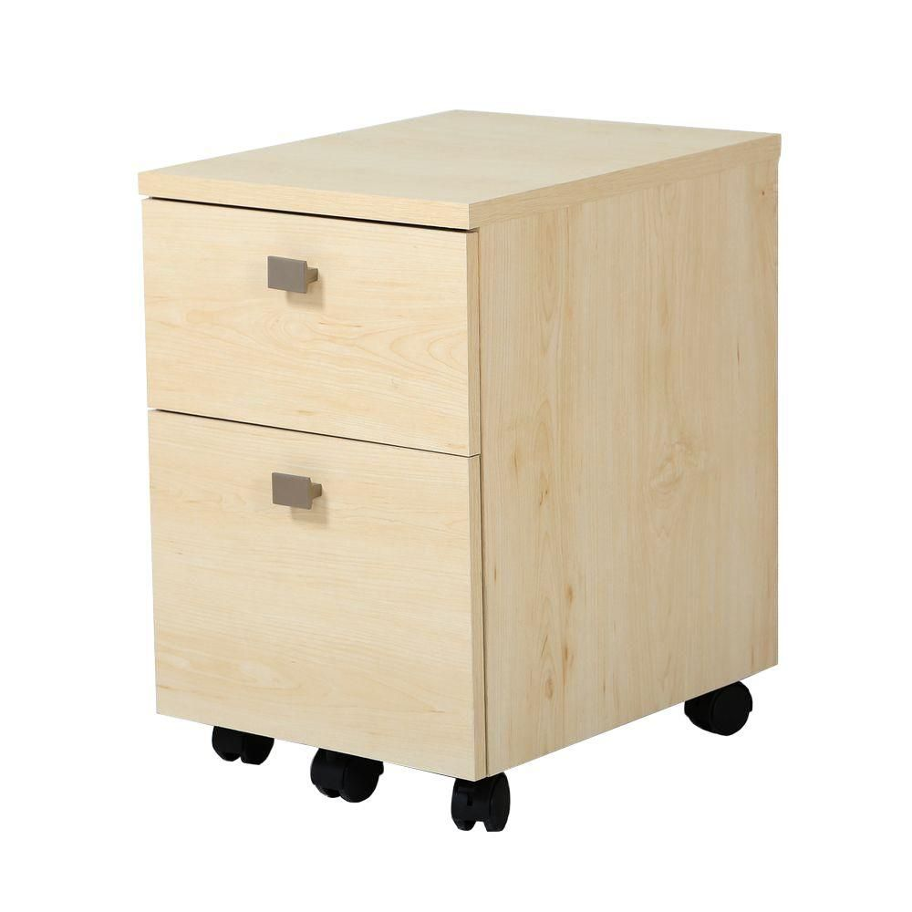Natural Maple Filing Cabinet with 3 Drawers Wood Mobile Filing Cabinet