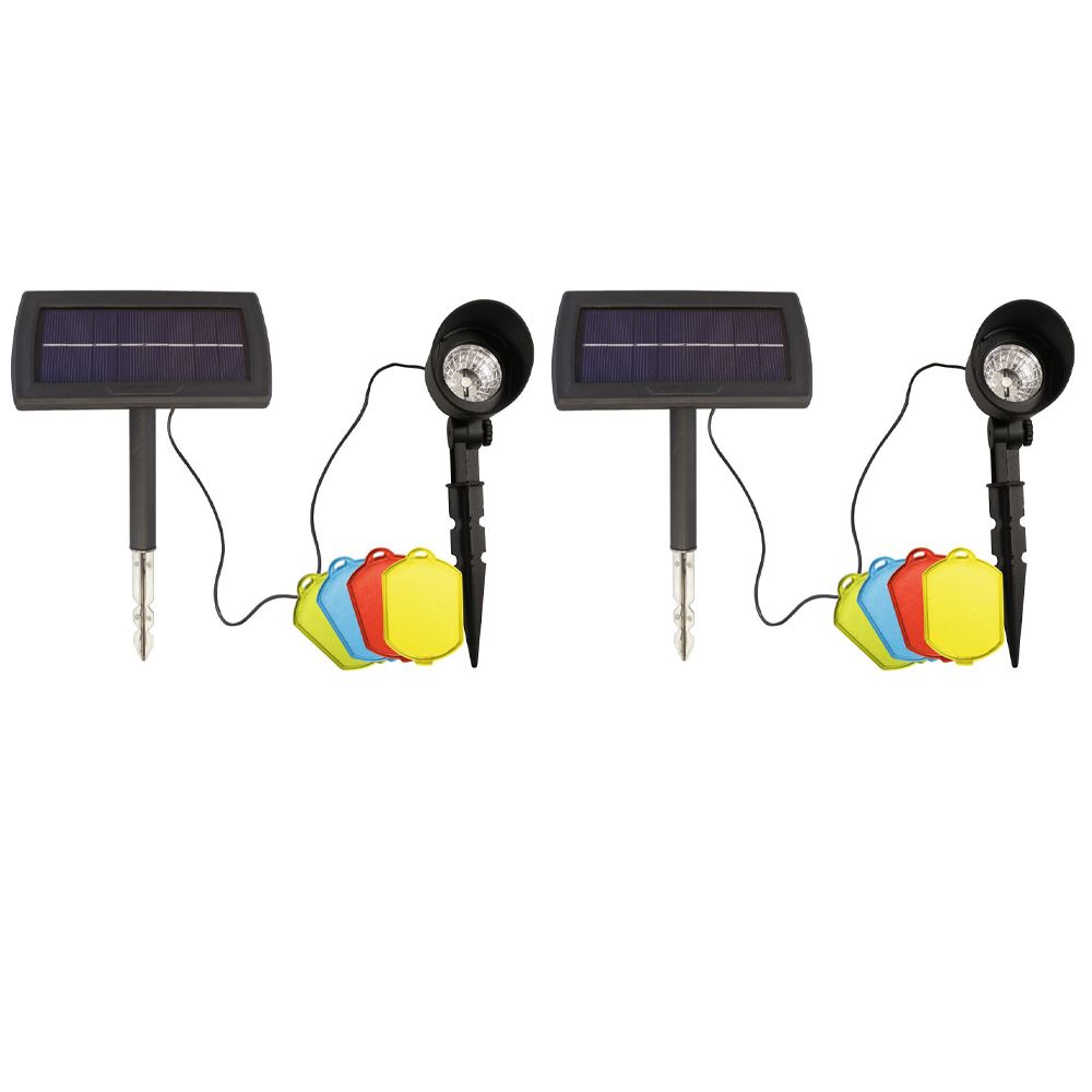 Solar LED Landscape Spotlight with Colour Filters - Set of Two