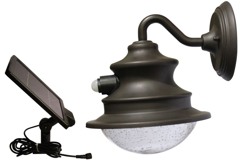 Gooseneck Wall Mount Lamp : Gama Sonic Solar LED Gooseneck Wall-Mount Motion-Sensing Barn Light The Home Depot Canada