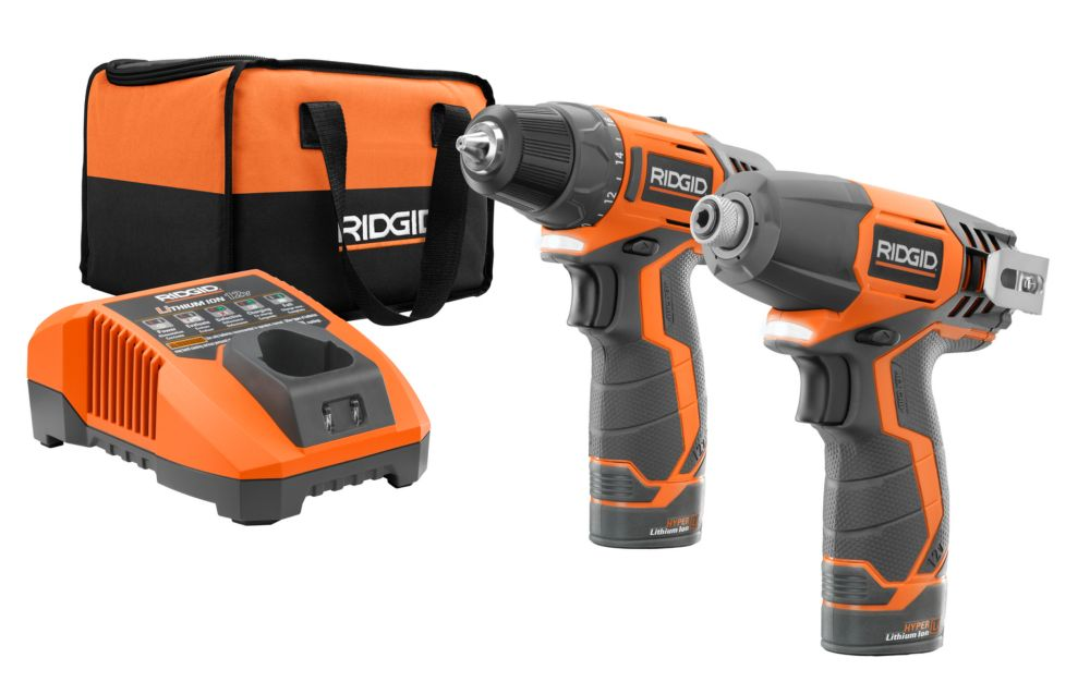 RIDGID 12V Hyper Lithium-Ion Drill/Driver and Impact Driver Combo Kit (2-Tool) with (2) 1.5Ah Batteries