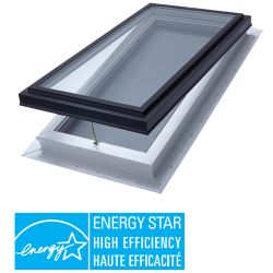 Columbia Skylights Venting Manual Self Flashing Triple Glazed LoE3 Clear Glass Skylight - 2 Ft x 4 Ft - Black Frame - ENERGY STAR®