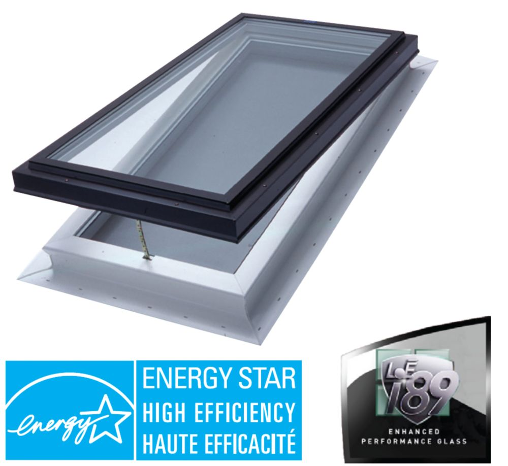 Venting Manual Self Flashing Double Glazed LoE3 i89 Glass Skylight - 2 Ft x 4 Ft - Black Frame