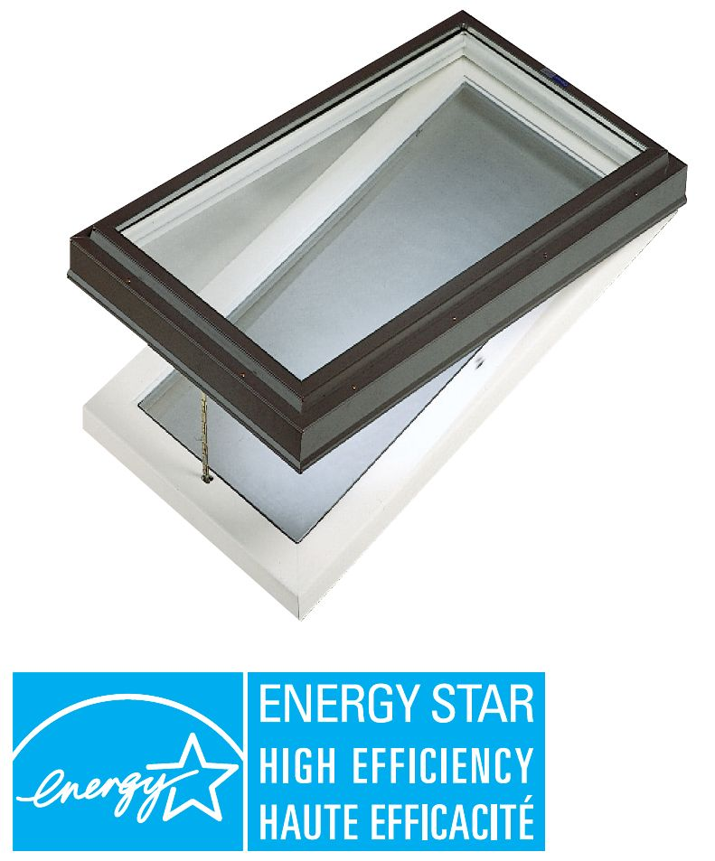 Venting Manual Curb Mount Triple Glazed LoE3 Clear Glass Skylight - 2 Ft x 4 Ft - Black Frame