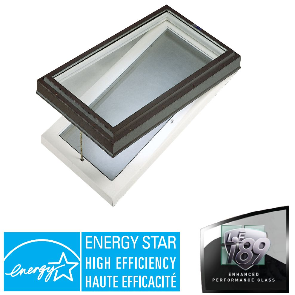 Venting Manual Curb Mount Double Glazed LoE3 i89 Glass Skylight - 2 Ft x 4 Ft - Black Frame