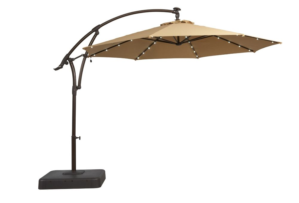 11 Ft. Offset Patio Umbrella with Solar LED Lights in Tan