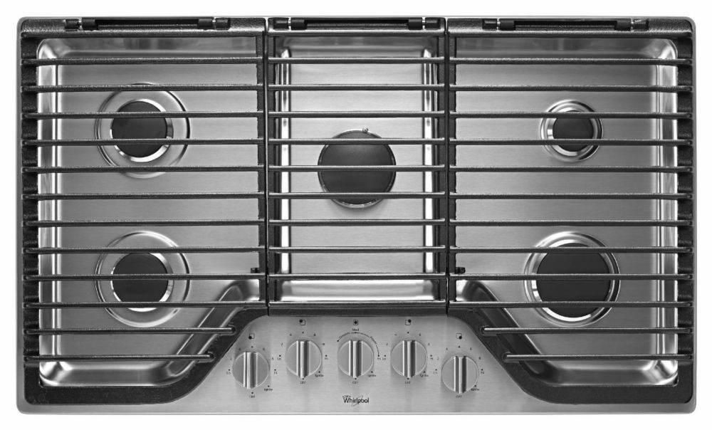 36-inch Five Burner Gas Cooktop with EZ-2-Lift� Hinged Cast-Iron Grates in Stainless Steel