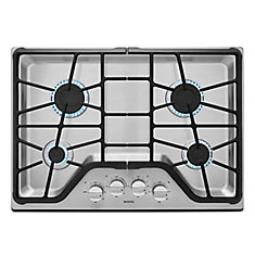30-inch Gas Cooktop in Stainless Steel with 4 Burners including Power Burner