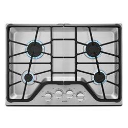 Maytag Table de cuisson à gaz de 30 pouces en acier inoxydable avec 4 brûleurs incluant un brûleur électrique