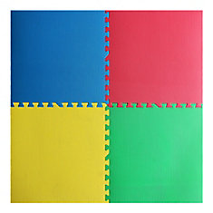 Red, Yellow, Green and Blue 24-inch X 24-inch Anti-Fatigue Interlocking Mats (4 Pack)