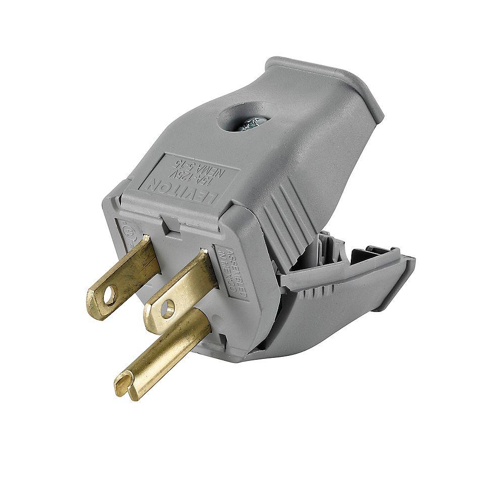 Leviton 2-Pole, 3 Wire Grounding Plug. Clamptite Hinged Design 15a-125v, Nema 5-15p, Gray Thermoplastic.