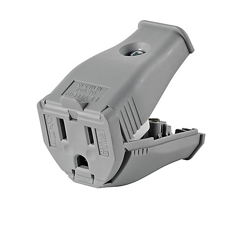 2-Pole, 3 Wire Grounding Outlet. Clamptite Hinged Design 15a-125v, Nema 5-15p, Gray Thermoplastic.