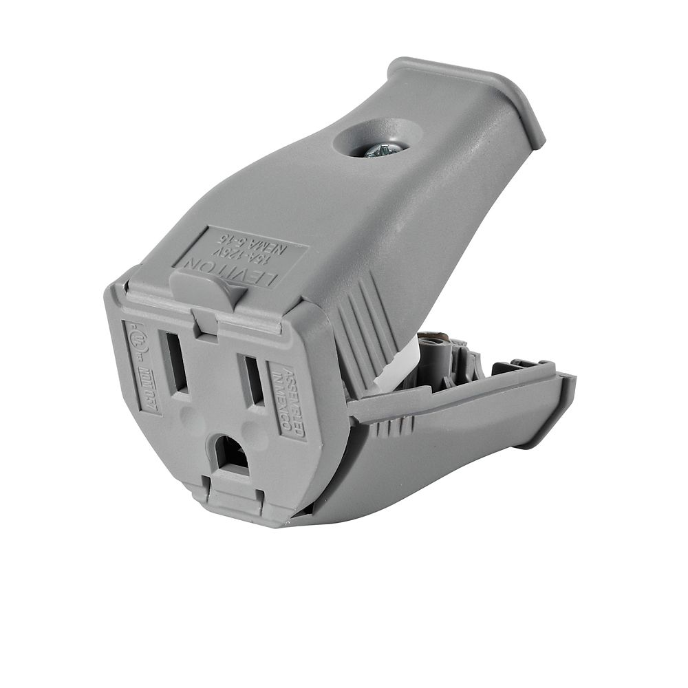 Leviton 2-Pole, 3 Wire Grounding Outlet. Clamptite Hinged Design 15a-125v, Nema 5-15p, Gray Thermoplastic.