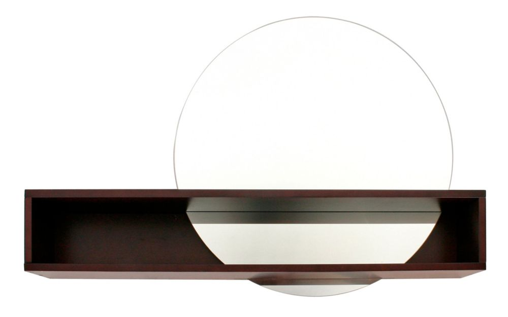 FN17556-5 Tate Series Round Mirror with Intersecting Shelf, Espresso Finish