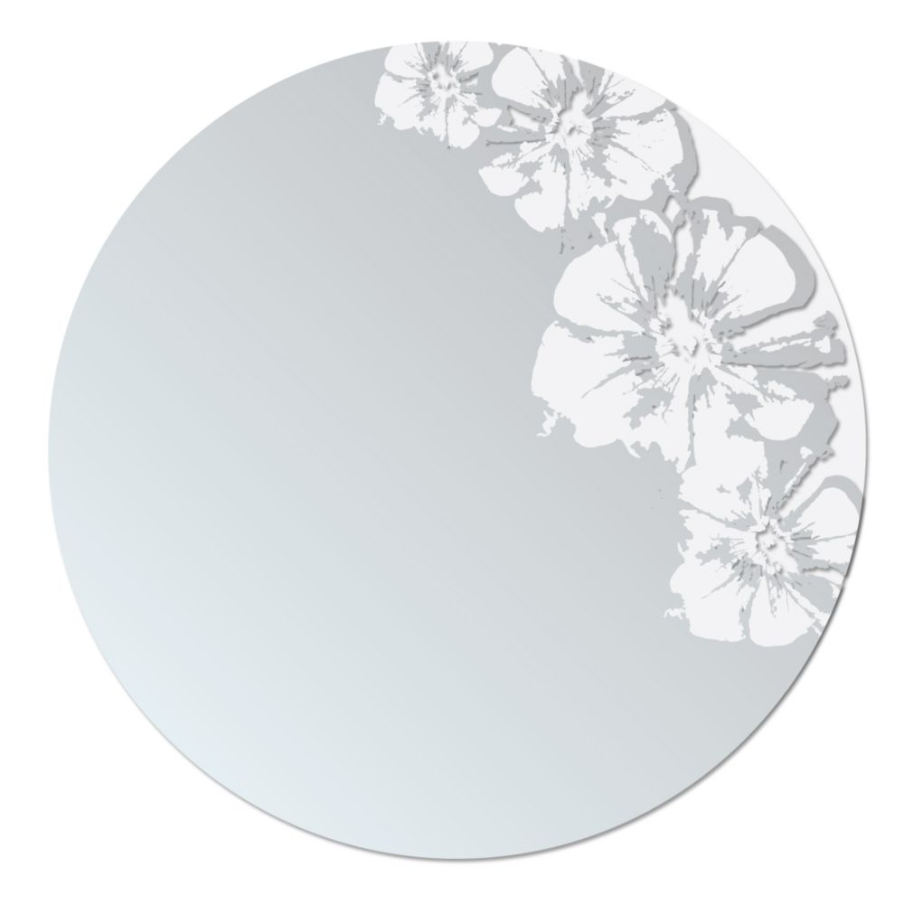 Flaunt Mirror with Frosted and Transparent Floral Design, 24-Inch