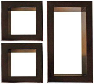 3-Piece Framed Cubbies Shelf Set, Mahogany