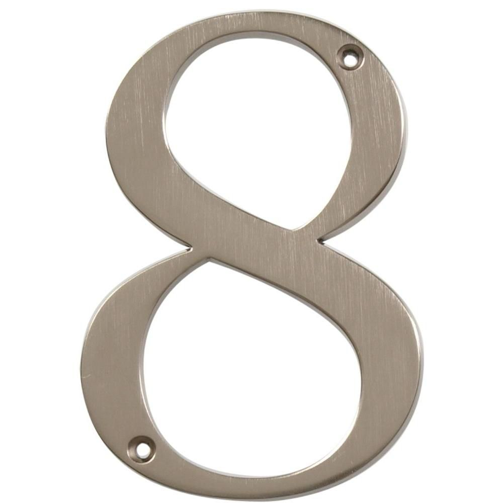 4 Inch Brushed Nickel House Number 8