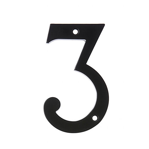 6 Inch Black House Number 3