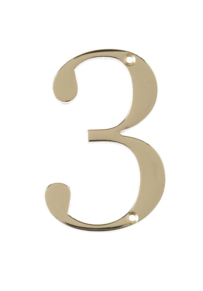 4 Inch Brass House Number 3