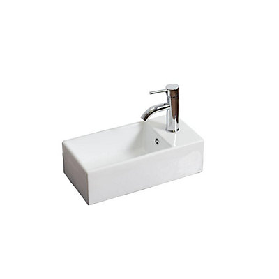 Rectangular Vessel Bar Sink In White With Overflow