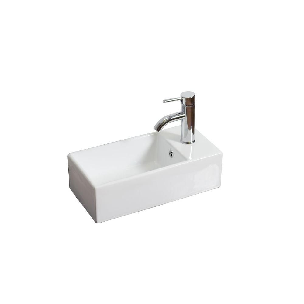 American Imaginations Rectangular Vessel Bar Sink in White with Overflow
